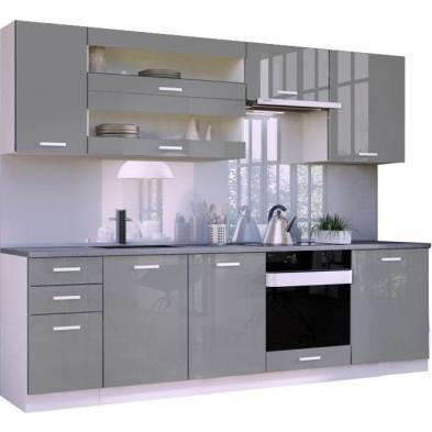 Ensemble cuisine complète ultra moderne coloris blanc mat et gris laqué L. 260 x P. 60 cm collection Arronches