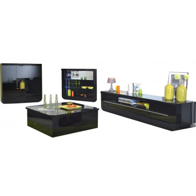 Ensemble meuble tv noir design en cm de largeur collection Schimmel