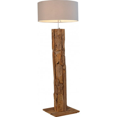 Lampadaire design 175 cm en bois teck coloris beige collection Paris