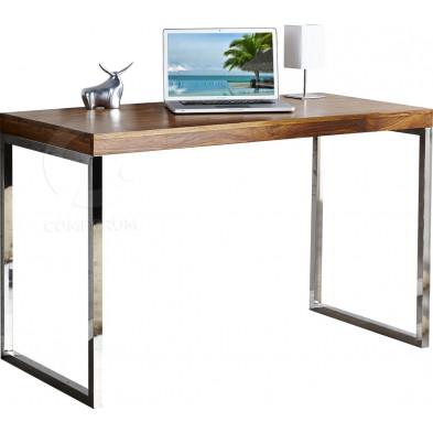 Bureau Design rectangle en bois de palissandre et métal L. 120 x P. 60 x H. 75 cm collection Ferdinanda