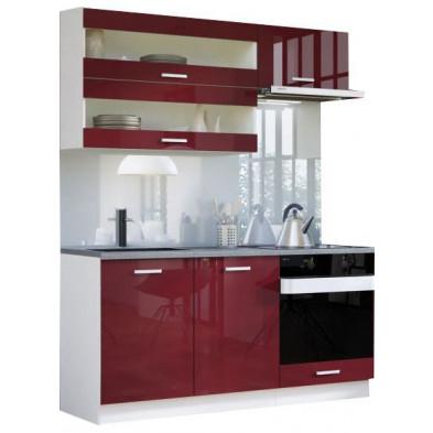 Ensemble cuisine ultra moderne coloris blanc mat et rouge laqué L. 160 x P. 60 cm collection Carlsbad