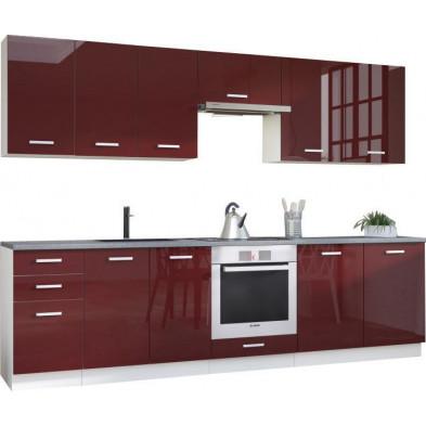 Ensemble cuisine complète ultra moderne coloris blanc mat et rouge laqué L. 300 x P. 60 cm collection Carlsbad