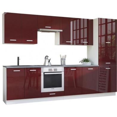 Ensemble cuisine complète ultra moderne coloris blanc mat et rouge laqué L. 320 x P. 60 cm collection Carlsbad