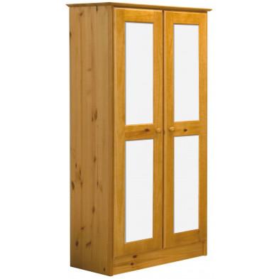 Armoire blanche contemporaine en bois massif pin L. 54 x H. 196 cm collection Genoveffa