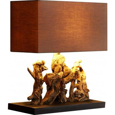 Lampe à poser design bois flotté coloris brun L. 50 x P. 20 x H. 40 cm collection Feray