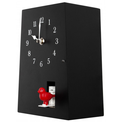 Horloge murale design en plastique coloris noir L. 10 x H. 20 cm collection Molteno