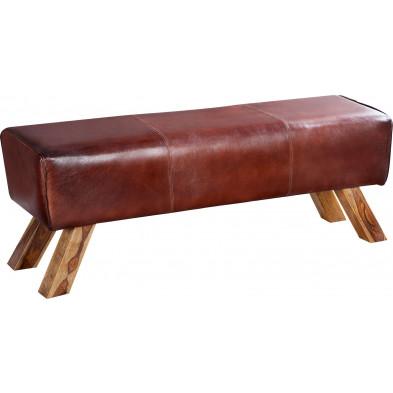 Banc vintage en cuir véritable coloris brun L. 120 x P. 30 x H. 45 cm collection Corrievorrie