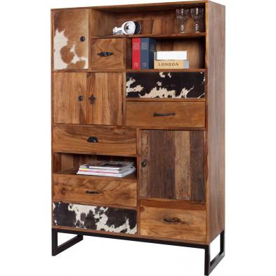 Meuble de rangement moderne en bois massif coloris naturel L. 105 x P. 40 x H. 155 cm collection Lumpy