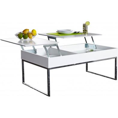 Table basse 110 cm design avec plateau relevable en mdf coloris  blanc collection Stroo