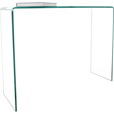 Bureau design en verre coloris transparent  L. 100 x H. 75 cm collection Elferink