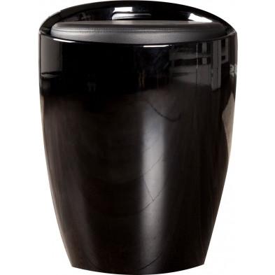 Pouf design noir avec espace de rangement L. 50 x P. 50 x H. 50 cm collection Grootjans