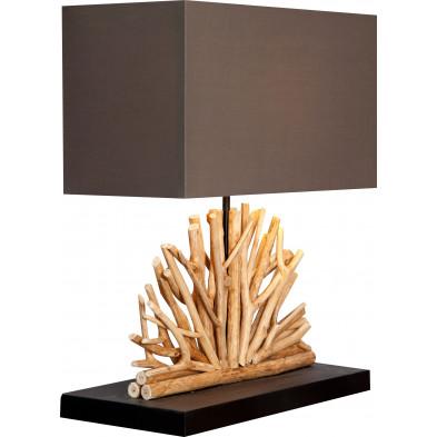 Lampe à poser 40 cm en bois flotté design coloris brun collection Castelrotto