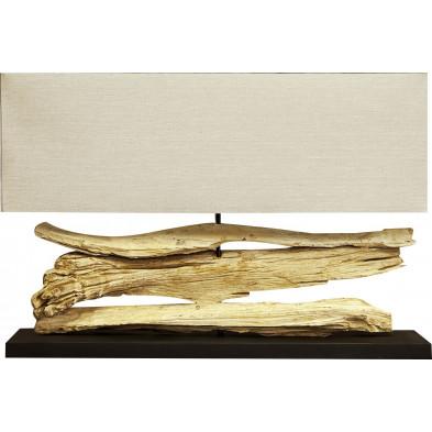 Lampe à poser 80 cm coloris beige en bois flotté collection Brundall