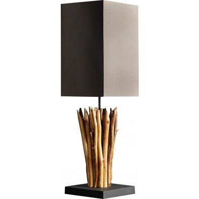 Lampe à poser en bois flotté coloris brun L. 20 x P. 20 x H. 75 cm collection Cedeira