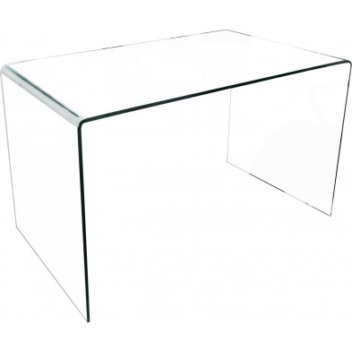Bureau design en verre coloris transparent L. 120 x P. 70 x H. 75 cm collection Elferink