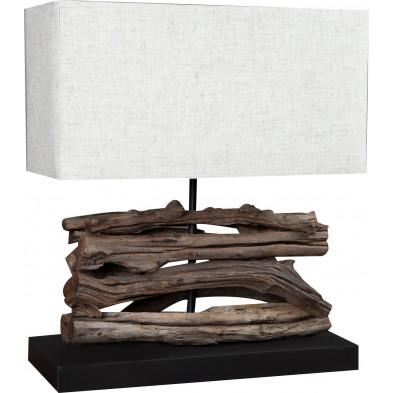 Lampe à poser beige design bois flotté L. 35 x P. 15 x H. 40 cm collection Caltanibetta