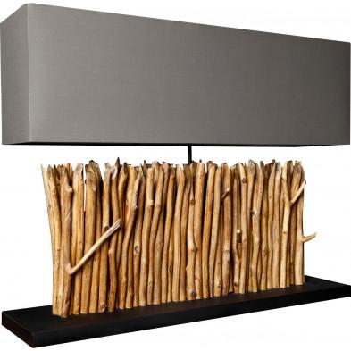 Lampe à poser bois flotté design horizon coloris brun L. 80 x P. 20 x H. 65 cm collection Dobson