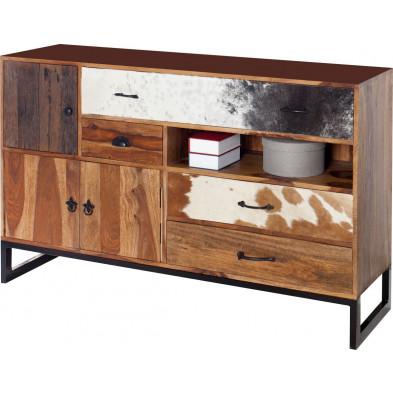 Bahut moderne en bois massif coloris naturel L. 70 x H. 40 cm collection Lumpy