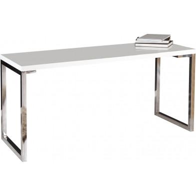 Bureau design blanc rectangle blanc laque L. 160 x P. 60 x H. 75 cm collection Ravena