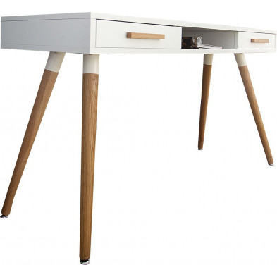 Bureau design en mdf coloris blanc L. 120 x P. 45 x H. 75 cm collection Tintur