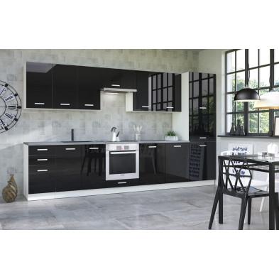 Composition cuisine équipée ultra moderne coloris blanc mat et noir laqué collection Bayton