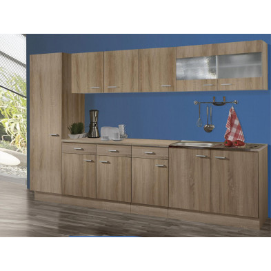 Composition de cuisine marron moderne en panneaux de particules melaminés H 200 cm x L 300 cm x P 50 cm  collection Schuster