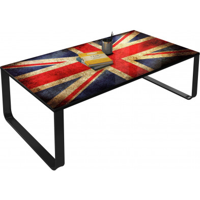 Table basse décorative L. 105 x H. 32 cm Union Jack vintage collection