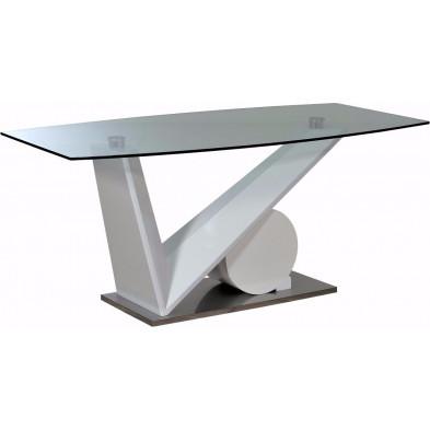 Table blanc design en panneaux de particules de haute qualité L. 200 x P. 100 x H. 76 cm collection Gamizfika
