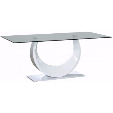 Table blanc design en bois mdf L. 180 x P. 90 x H. 75 cm collection Vandenboom