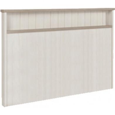 Tête de lit contemporaine blanc et marron en bois mdf et panneaux de particules mélaminés L. 175.2 x P. 13.9 x H. 104 cm Collection Neerlanden