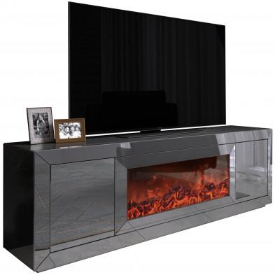 Meuble tv design avec cheminée artificiel integré en miroir anthracite livré monté 200 cm de largeur collection FIBRAMU