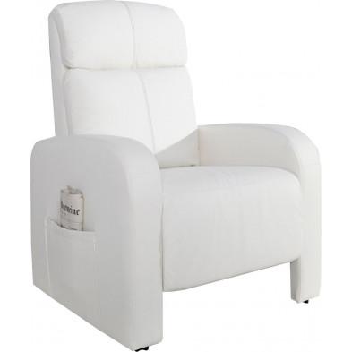 Fauteuil relax classique en pvc coloris en blanc L. 75 x P. 70 x H. 105 cm collection Aholming
