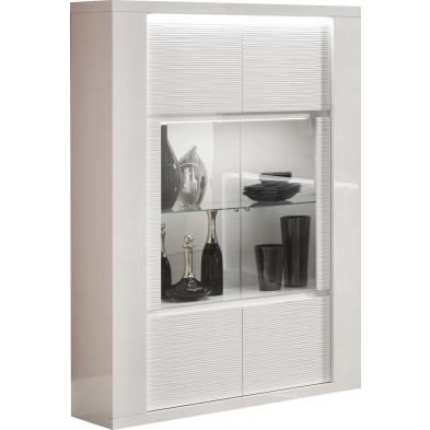 Vitrine blanc design en panneaux de particules en finitions laquées L. 120 x P. 40 x H. 180 cm collection Faver