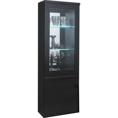 Vitrine noir design en panneaux de particules de haute qualité L. 58 x P. 40 x H. 191 cm collection Jorna