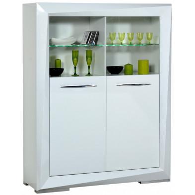Vitrine blanc design en panneaux de particules de haute qualité L. 130 x P. 45 x H. 165 cm collection Gamizfika