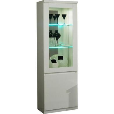 Vitrine blanc design en panneaux de particules de haute qualité L. 58 x P. 40 x H. 191 cm collection Join