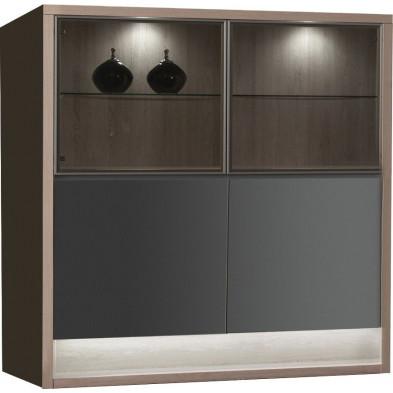 Vitrine gris moderne en panneaux de particules de haute qualité L. 128,9 x P. 48 x H. 145,1 cm collection Flordelis