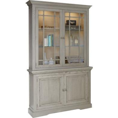 Argentier - vaisselier - vitrine marron contemporain en bois massif   L. 123 x P. 51 x H. 226 cm collection Casaldachoca