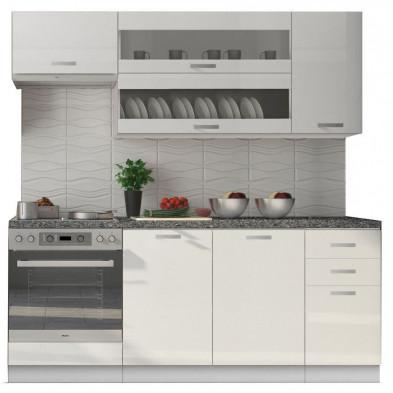 Ensemble cuisine ultra moderne  coloris blanc mat et blanc laqué L. 200 x P. 60 cm collection Dekuijper