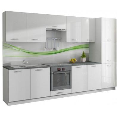 Ensemble cuisine ultra moderne coloris blanc mat et blanc laqué L. 320 x P. 60 cm collection Dekuijper