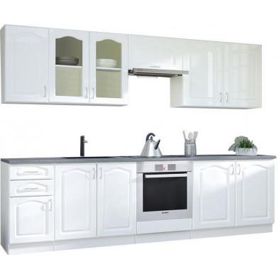 Ensemble cuisine complète contemporaine Façade bois MDF + Caisson en panneaux de particules coloris blanc Mat L. 300 x P. 60 cm collection Dingman