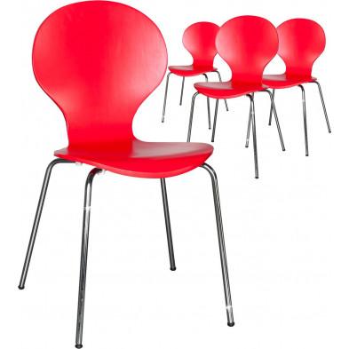 Lot de 4 chaises design en bois et métal coloris rouge L. 85 x H. 50 cm collection Schendelbeke