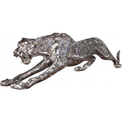 Sculpture design Léopard argentée de L. 145 x H. 30 cm collection Beavercreek