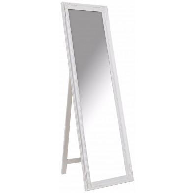 Grand miroir psyché en bois style classique coloris blanc L. 45 x P. 3 x H. 160 cm collection Greenbay