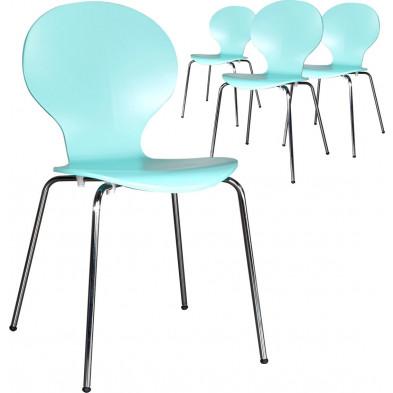 Lot de 4 chaises design en bois et métal coloris turquoise L. 85 x H. 50 cm collection Schendelbeke