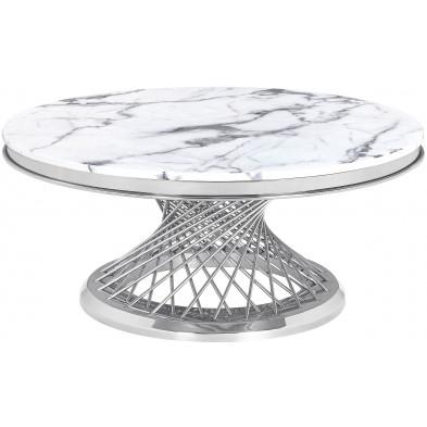Table basse design rond plateau en marbre gris et piètement en acier inoxydable poli argenté Collection MARCELO L. 100 x P. 100 x H. 46 cm