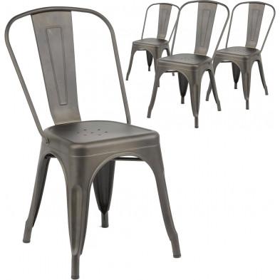 Lot de 4 Chaises de cuisine Argenté Industriel en Acier inoxydable L. 45 x P. 53 x H. 85 cm  collection Siadariarach