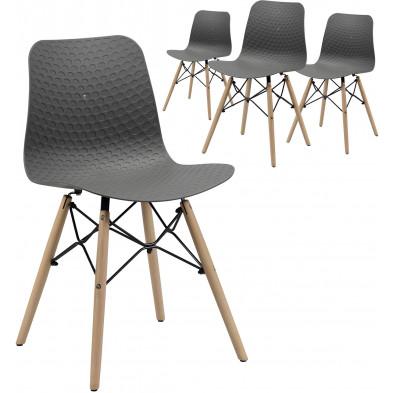 Lot de 4 Chaises de salle à manger  Gris Scandinave L. 44 x P. 52 x H. 79 cm collection Gitta