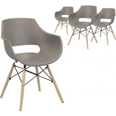 Lot de 4 Chaises de salle à manger  Marron Scandinave L. 57 x P. 62 x H. 81 cm  collection Katerberg