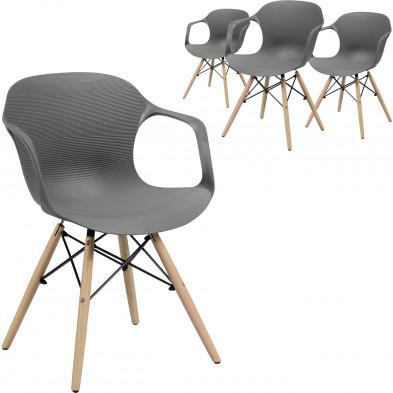Lot de 4 Chaises de salle à manger design Gris Scandinave en bois massif et Polypropylène  L. 55 x P. 52 x H. 76 cm collection Longfellow